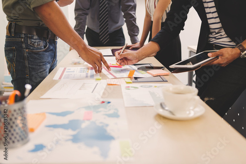 Fototapety, obrazy: Businessman and team talking and briefing of business plan and strategy at meeting room
