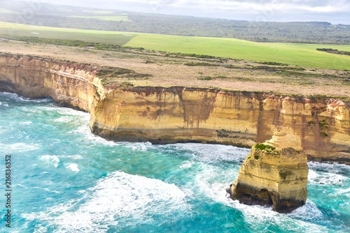 Poster Oceanië Aerial View of Rugged Coastal Landscapes of the Great Ocean Road in Port Campbell National Park