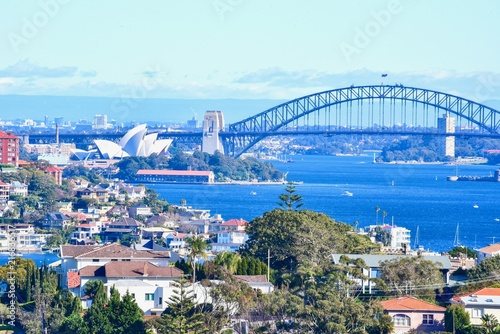 Staande foto Oceanië Aerial View of Sydney Opera House and Harbour Bridge Near Sydney Harbour