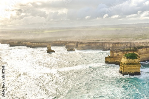 Poster Oceanië Aerial View of Coastal Landscapes of the Great Ocean Road During Sunset