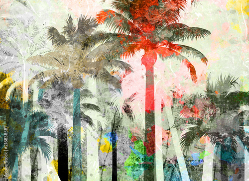 tropical palm grunge background