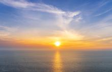 Scenic Of Sunset On Seascape Skyline Background