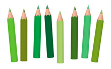 Green Crayons - Short Pencils Loosely Arranged, Different Greens Like Moss, Grass, Olive, Pastel, Light, Medium Or Dark Green - Isolated Vector Illustration On White Background.
