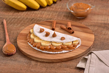Tapioca Filled With Dulce De Leche And Banana Slices
