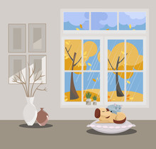 Window With A View Of Yellow Trees And Flying Leaves. Autumn Interior With Sleepping Cat And Dog, Vases, Pictures On Grey Wallpaper. Rainy Good Weather Outside. Flat Cartoon Style Vector Illustration.