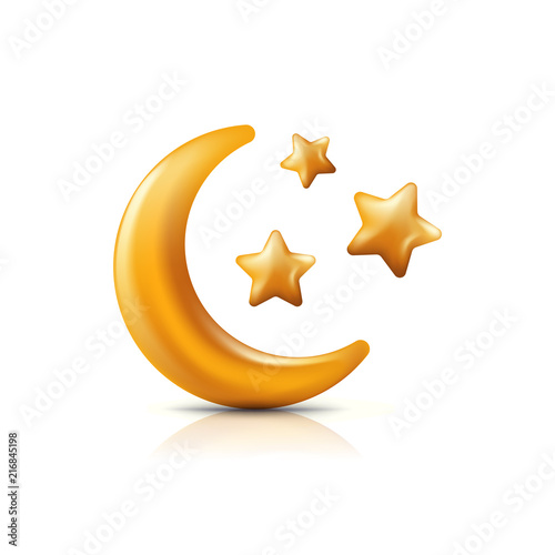 Vector 3d style illustration of golden moon and stars. Decorative gold holiday icons and design elements © Betelgejze