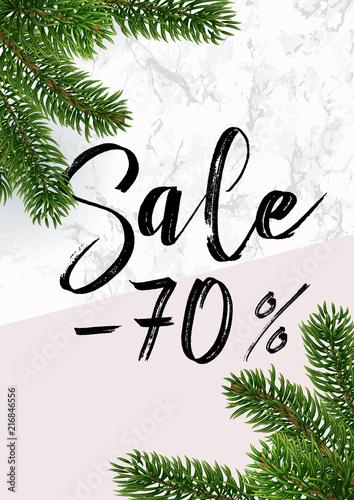the christmas sale banner marble and pink discounts up to 70 percent white