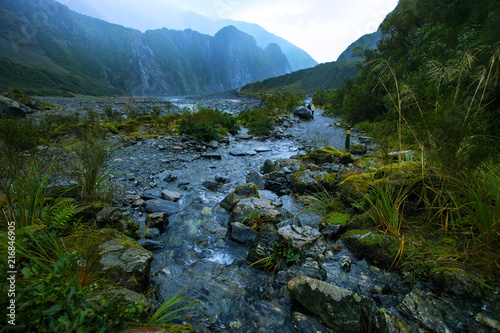 Fotobehang Oceanië beautiful scenic of natural trail in fox glacier most popular traveling destination in southland new zealand