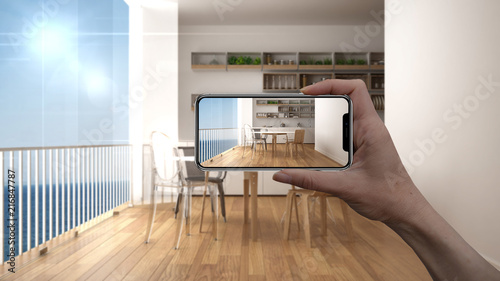 Hand Holding Smart Phone Ar Application Simulate Furniture And