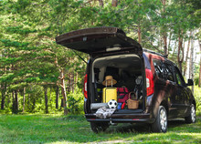 Van With Camping Equipment In ...