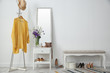 canvas print picture - Stylish hallway interior with mirror and rack