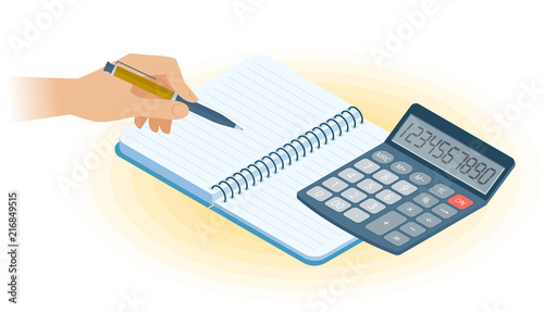 Flat Vector Isometric Illustration Of Copybook Hand Writing With