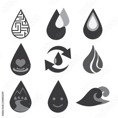 water icon set on black and white color  Set of water Drop