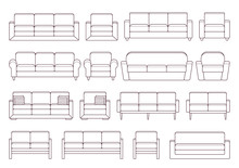 Sofa, Armchair, Couch Set. Vector. Outline Furniture Icon. Black White House Equipment For Living Room Isolated. Linear Illustration In Flat Design.