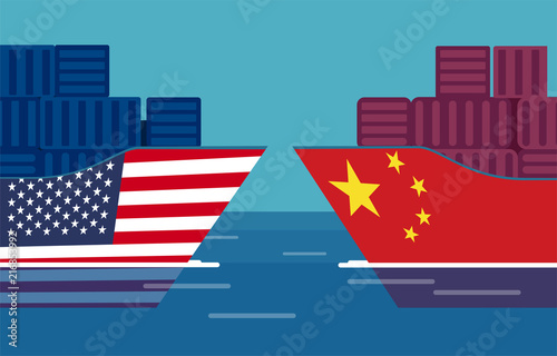Fotografía  China and United States trade war concept
