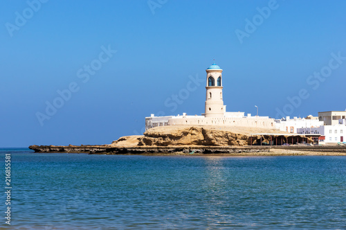 View on Sur Lighthouse from across the bay - Sur, Oman