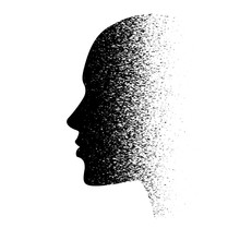 A Human Face In Profile, Stylized, Isolated. Concept: Sadness, Melancholy, Depression, Dementia, Stress