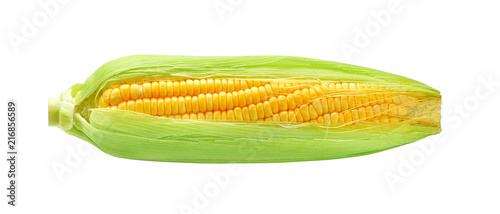 Photo  Grains of ripe corn isolated on white background.