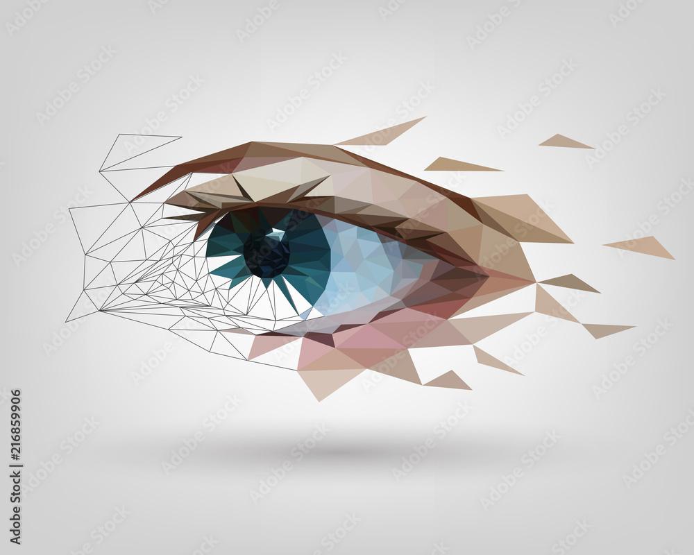 Fototapeta Low polygonal human eye is scattered, vision
