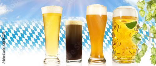 Staande foto Bier / Cider Bayrische Biersorten
