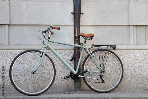 In de dag Fiets bicicletta verde chiaro con sellino pelle