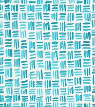 Hand Painted Watercolor Seamless Repeat Turquoise Crosshatch Basket Weave Pattern. Abstract Modern Background, Illustration.