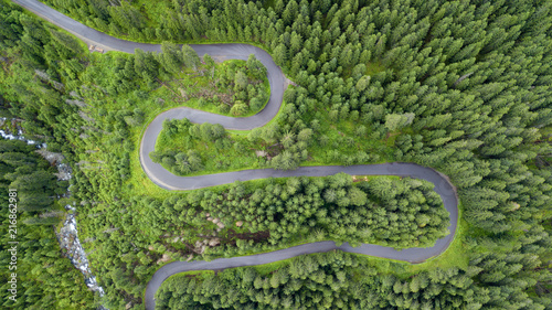 Vue aerienne aerial shot of some road serpentines