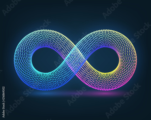 Neon sign of infinity on a dark background Canvas Print