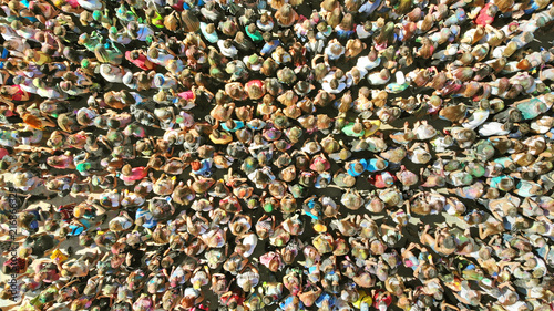 Aerial of many people. People crowd texture view above. Students ...