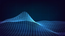 Background With Blue Glowing Grid With Waves, Relief, Abstract, Technology