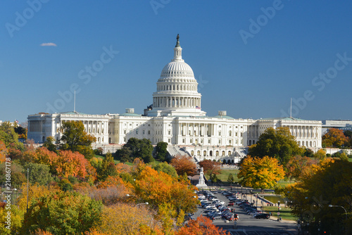 United States Capitol Building in autumn - Washington DC United States of America