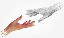 Low Polygonal Hands, Human And...