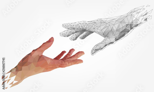 Fényképezés  Low polygonal hands, human and robot arms, partnership of people and robots, com