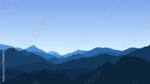 Poster Bleu nuit Landscape with mountains, view, nature, mountain range, clear sky