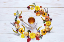 Apples, Flowers And Honey With...