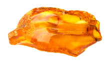 Raw Amber Stone Isolated On Wh...