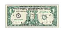 Bill One Dollar Banknot American Paper Money. Vector