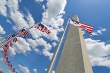 Washington Monument With United States National Flags - Washington DC United States Of America
