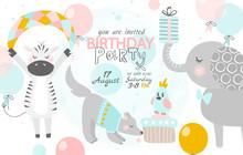 Birthday Invitation With Cute ...