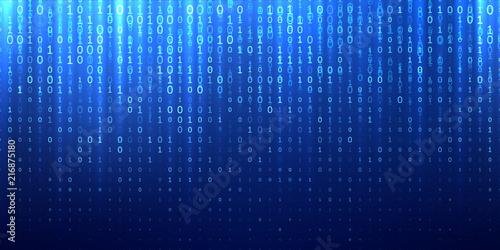 Photo Binary matrix code blue abstract background