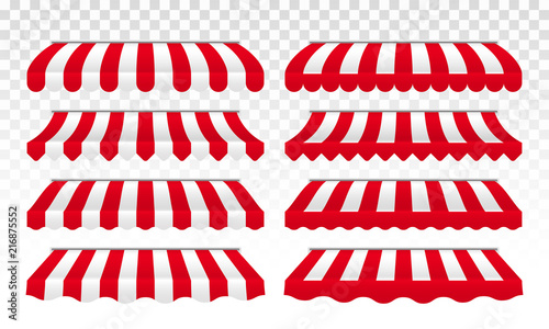 Fotografie, Obraz Awning tents vector striped isolated set