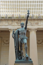 Youth Statue Holding God Of Nike In War Memorial Auditorium, Nashville, Tennessee, USA. This Memorial Is Next To The State Capitol Was Built In 1925 In Nashville.