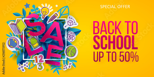 Back to school Sale leaves and colored hand drawn doodle icons