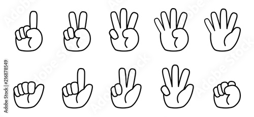 Photo  Finger counting line icon