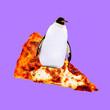 canvas print picture Contemporary visual art collage. Minimal concept.  Pizza lover. Penguin Surfer