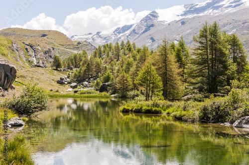 Photo Stands Lake Zermatt, Grindjisee, Bergsee, Alpen, Walliser Berge, Wanderweg, Lärchenwald, Hochmoor, Findeln, Sunnegga, Wasserspiegelung, Wallis, Sommer, Schweiz