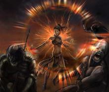 Illustration Fantasy Of Girl Warrior In Battle She Kill The Enemies Whit Magic Light