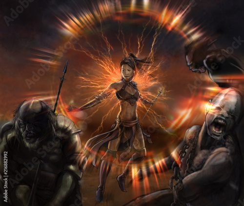 Photo illustration fantasy of girl warrior in battle she kill the enemies whit magic l
