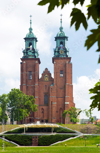 Fotobehang Europa Gniezno Cathedral historical landmark on sunny day in Poland