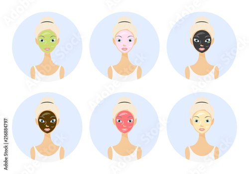 Different types of facial masks and skin care illustration